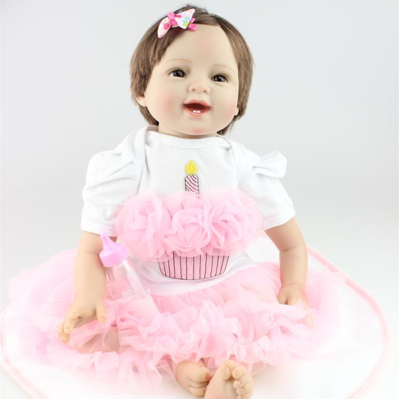 Smile Newborn Baby Girl Dolls Handmade 22 Inch 55 cm Silicone Reborn Baby Dolls For Girl