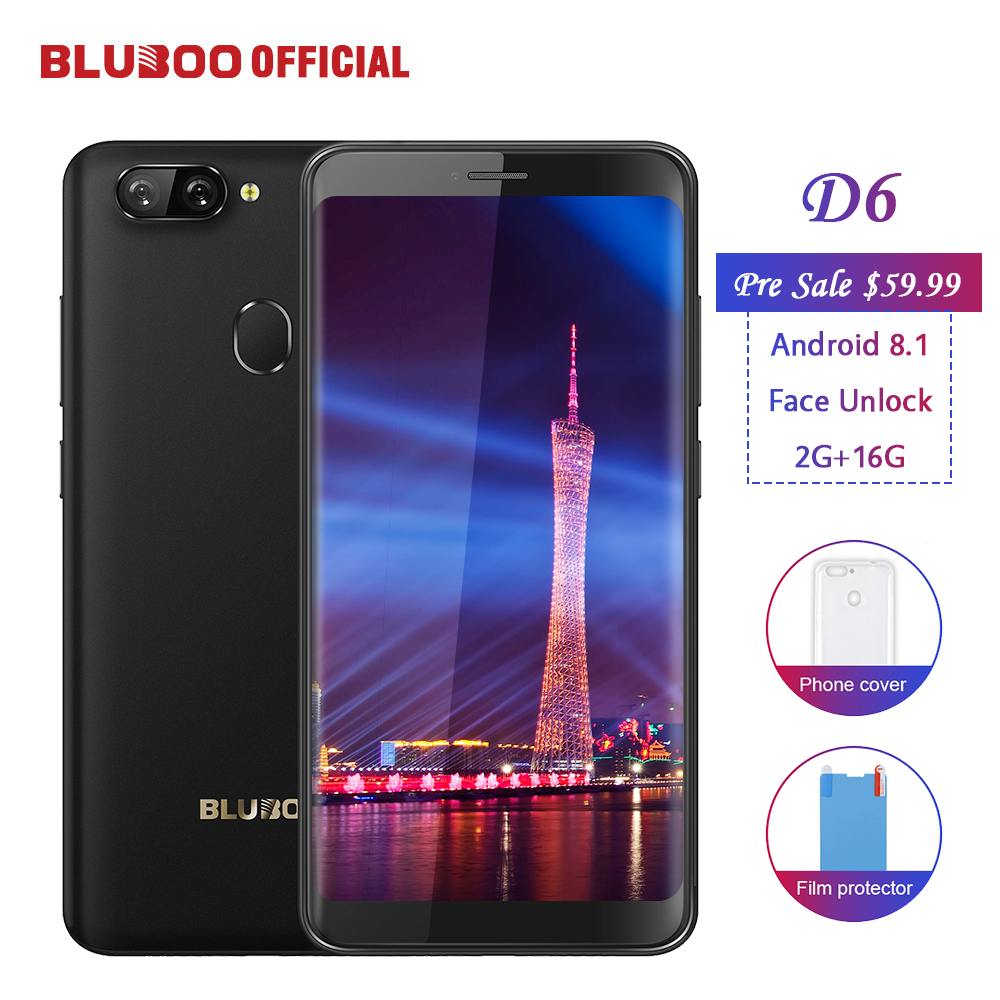 Pre Sale BLUBOO D6 Android 8.1 Smartphone 5.5'' MTK6580 Quad Core 2G RAM 16G ROM Face Unlock Dual Back Cameras 18:9 Mobile Phone