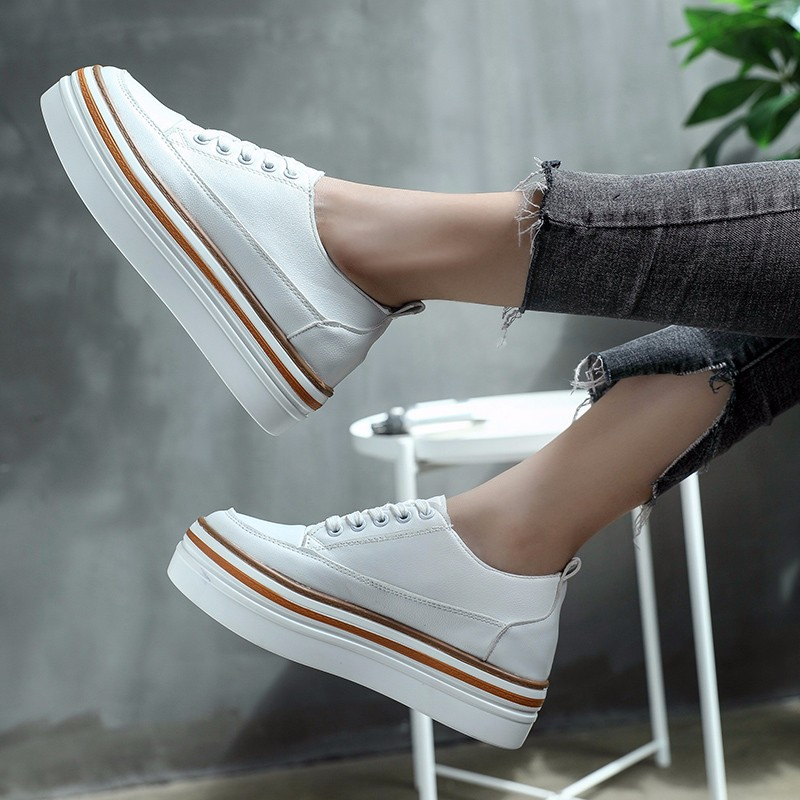 Women Platform Flats Lace-up Artificial Leather Casual Shoes Woman Autumn Spring Flat Creepers Round Toe White Black Shoes Size8 стоимость
