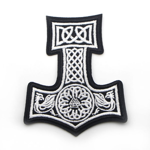 Image 2 - D0006 Patchfan 20pcs/lot Mjolnir North Viking Thor Hammer Loki Odin Skins Embroidered Iron on Patches for Clothing DIY Appliques