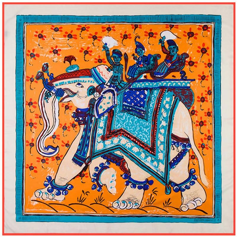 100% Twill Silk Women Scarf Euro Design Thailand National Wind Elephant Print Neckerchief High Quality Foulard Square Bandana