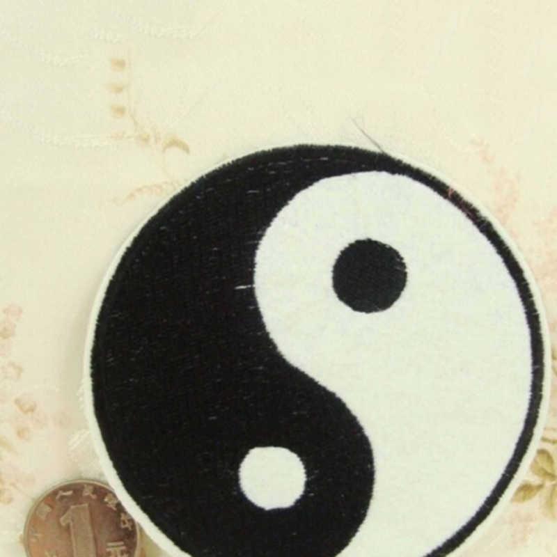 1 sztuk Tai chiński taoizm Symbol aplikacja Ying Yang łatka ubrania aplikacja klasyczne Feng Shui Yin Yang żelazko na haftowane poprawki