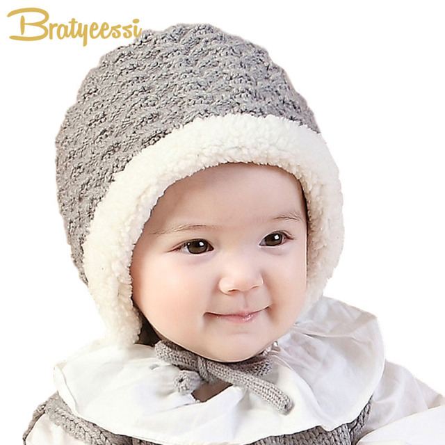 Knit Baby Winter Hat Warm Plush Lining Infant Bonnet for Boys Girls Cap  Pink Gray for 6-15 Months 88c064a15e2