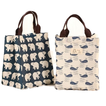 2018 Waterproof Lunch Bag for Women Kids Men Cooler Lunch Box Bag Canvas Lunch Bag Insulation Package Portable Cotton Tote
