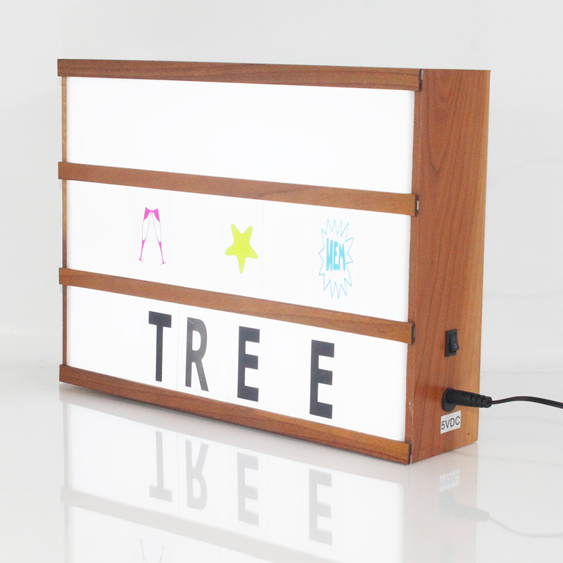 Solid wooden A3 Led Cinematic Light Box With Diy Letters symbols emojis 6AA Battery and Usb cable operation pine neem wooden шкатулки trousselier музыкальная шкатулка wooden box жираф