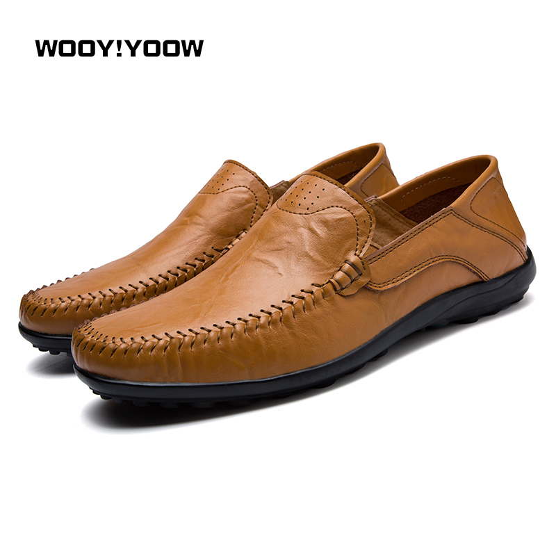 WOOY!YOOW 2018 New Fashion Men's Peas Shoes Men's Casual Shoes Daddy Shoes British Style Gentleman Men's Leather Shoes Walking