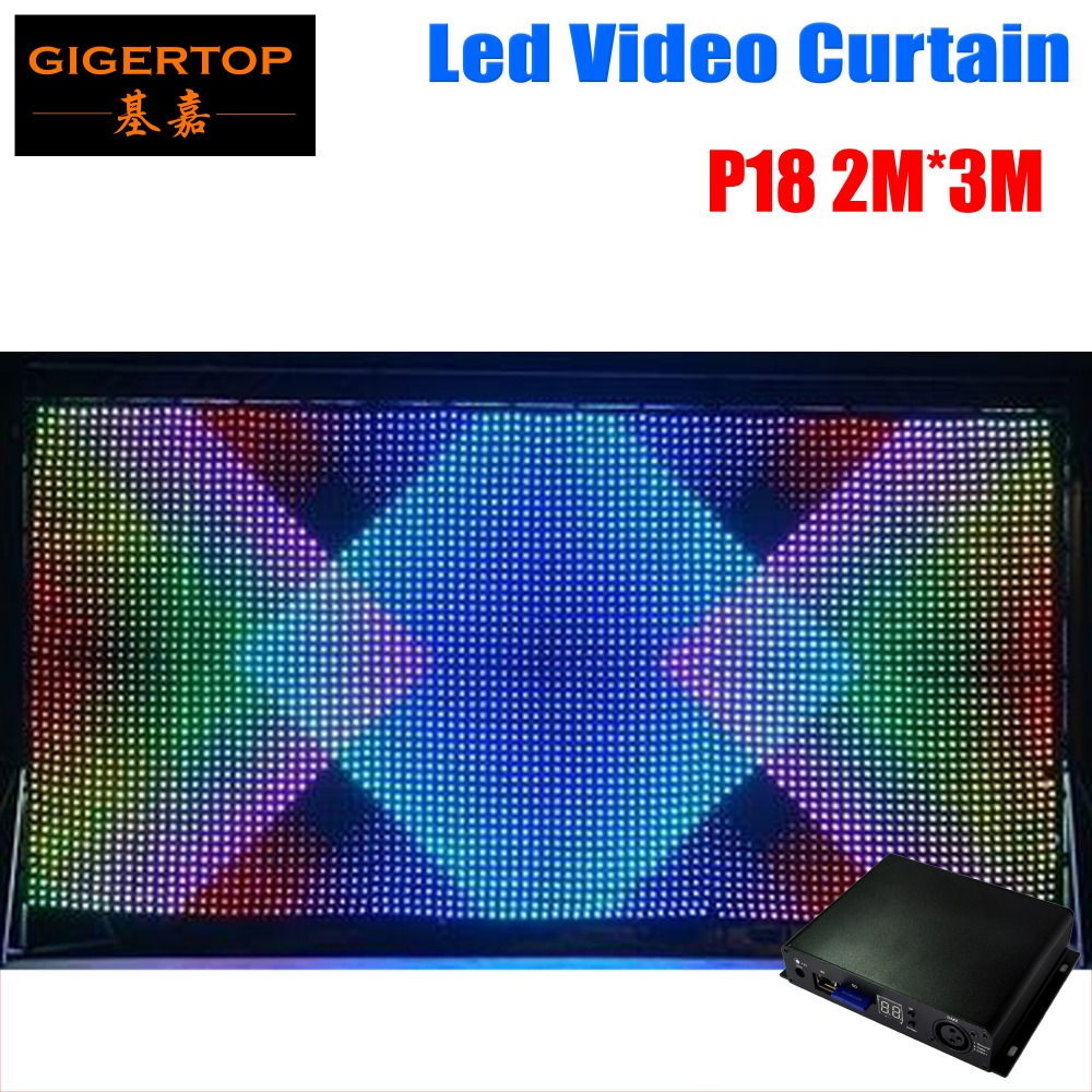 P18 2M*3M LED Video Curtain,Fast Ship LED Vision Curtain With Professional Line Off Controller For DJ Backdrops fast p