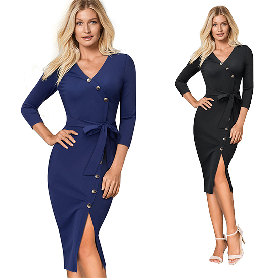 HTB1y53UKXGWBuNjy0Fbq6z4sXXaX - Women's V-Neck Split Slim Pencil Office Dress-Women's V-Neck Split Slim Pencil Office Dress