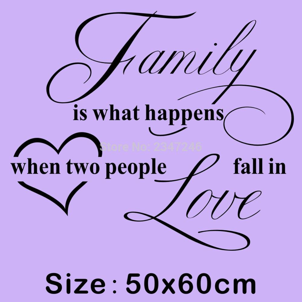 Home Quotes Wall Decal Family Is What Happens When Two People Fall In Love Lettering Mural