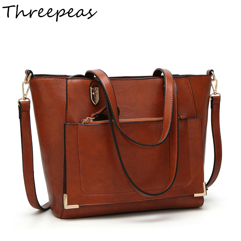 THREEPEAS Women Handbag PU Oil Wax Leather Women Bag Large Capacity Tote Bag Big Ladies Shoulder Bags Bolsas Feminina 2018 new women bag ladies shoulder bag high quality pu leather ladies handbag large capacity tote big female shopping bag ll491