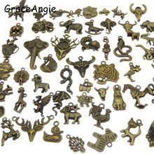 20pcs Mix Animal Charms Skull Elephant Snake Horse Tiger Alloy Bronze Charms Necklace Pendant Bracelet Chamrs Earrings DIY Craft(China)