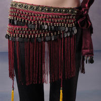 Hand Made Belly Dance Classical Fringe Skirt Hip Scarf Coin Belt Tribal Style Waist Tribe Belt