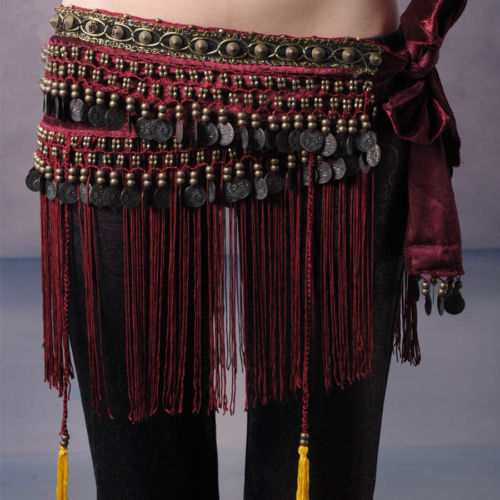 Hand made Belly Dance Classical Fringe Skirt Hip Scarf Coin Belt Tribal Style Waist Tribe Belt Tassel With Copper 3 Colors