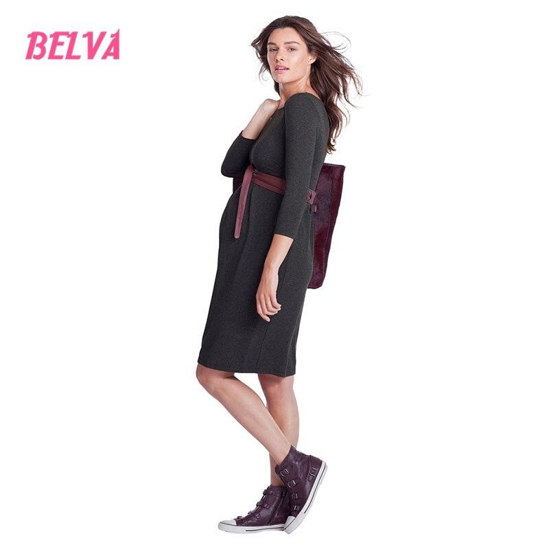ФОТО Belva Women's Maternity Knee length Front Pleated Midi Dress Nursing Friendly Baby Shower Maternity Wrap Dress DR249