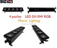 4PCS Lot Free Shpping The Latest LED 5X10W RGB Matrix Lighting LED Wash Wall Long