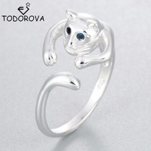 Todorova 925 Sterling Silver Fashion Adjustable Lovely Cat With Blue Crystal Eyes Trendy Jewelry Gift Finger Open Rings