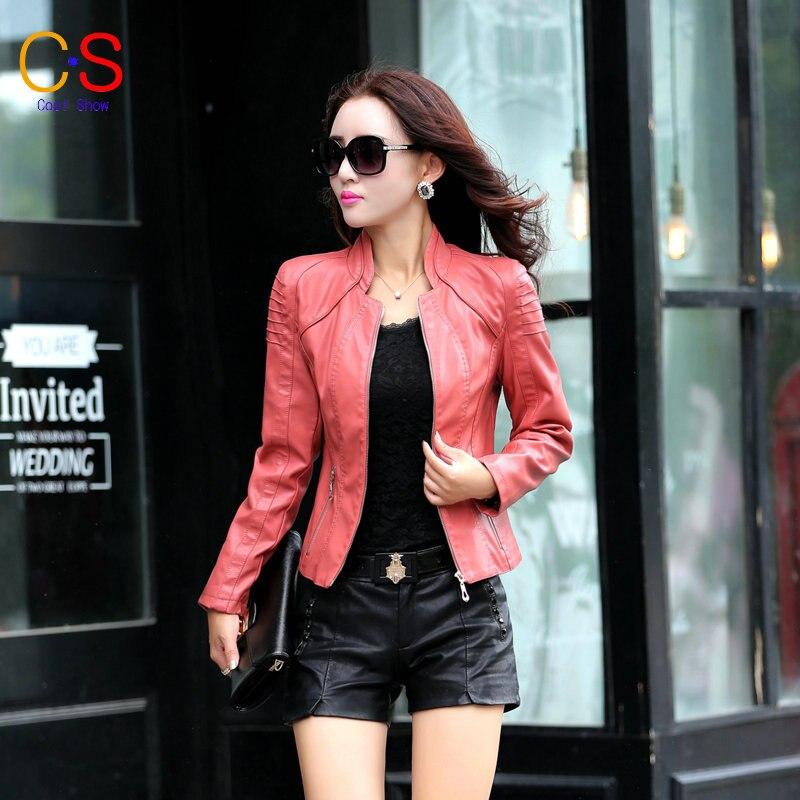 942ce42e8311f New Design Sleeve Women Leather Jacket Zipper Coat Lady Outfits Short Style  Biker Jacket Pink Blue XY318