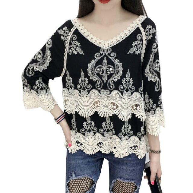 Verano crochet floral Encaje blusas Camisas V Masajeadores de cuello ...