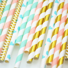 25pcs Paper Drinking Straws paper napkins Party Paper Straws happy birthday party decoraiton birthday party decorations kids(China)