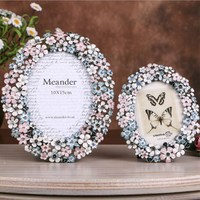 European Pastoral Enamel Metal Garland Photo Frame Picture Frame Creative Home Decoration Photo Frame Set Table Wedding Creative