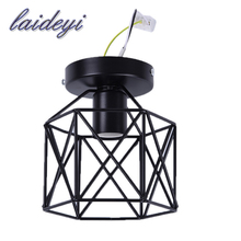 New vintage birdcage ceiling lights iron minimalist retro ceiling lamp Scandinavian loft pyramid lamp metal cage fast shipping