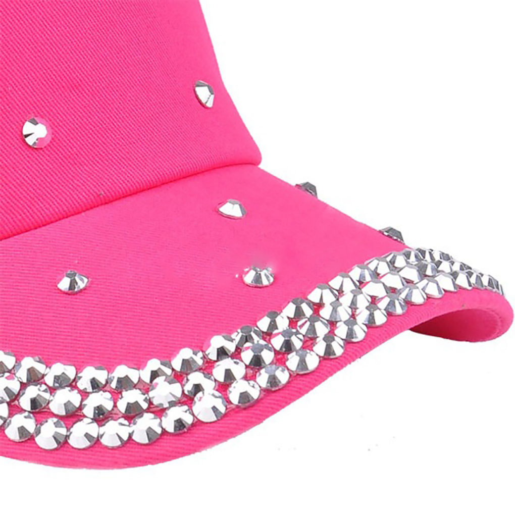 Children Fashion Adjustable Star Rhinestones Studded Peaked Cap Glitter Sparkly Hat Cotton Baseball Cap
