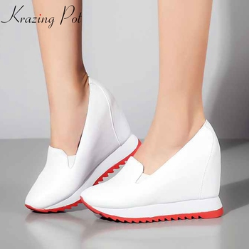 Krazing Pot Autumn Spring genuine leather round toe slip on solid color handmade concise design increased vulcanized shoes Lff2