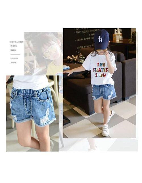 Фото джинсовые шорты для девочек летние хлопковые и мальчиков одежда