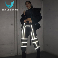 Sportswear Women Gym Running Pants Sport Fitness Workout Leggings Reflective Stitching Casual Overalls Belt Breathable Joggers