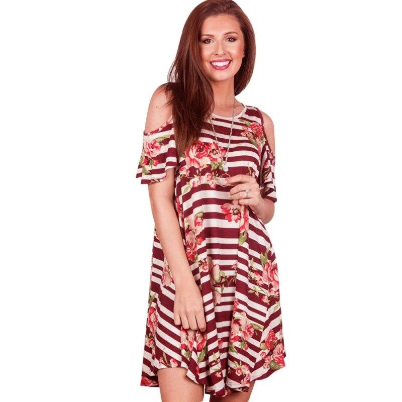 40cfdbad6820e8f Модное летнее платье Для женщин Повседневное открытыми плечами Спагетти  ремень свободные принтом мини-платье с