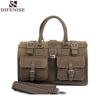 Authentic Crazy Horse Genuine Leather Men's Handmade Handbags Casual String Close cow leather Large Capacity bags High Quality