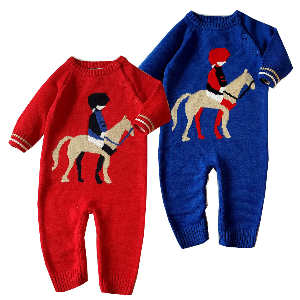 2017 Baby Boys Christmas Horse Romper  Winter Autumn Long Sleeve Baby Knitting Rompers Newborn Infant Toddler Jumpsuit Coveralls cotton baby rompers set newborn clothes baby clothing boys girls cartoon jumpsuits long sleeve overalls coveralls autumn winter
