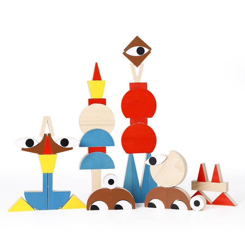 Montessori jouets formes drôles thème blocs de construction juguetes Montessori matériaux éducatifs en bois jouets pour enfants oyuncak - 2