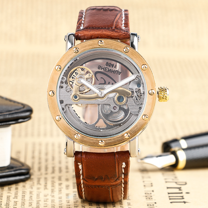 Men Mechanical Wristwatch Automatic Self-Wind Brown Genuine Leather Band Hollow Transparent Dial Fashion Cool Male Retro Clock все цены