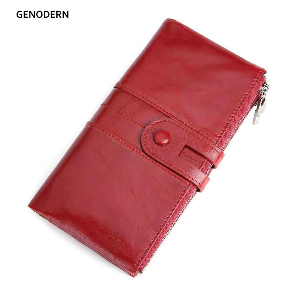 GENODERN RFID Genuine Leather Women Wallets Purse Lady Clutch Long Wallet With Zipper Coin Purse Women's Hasp Money Phone Bag