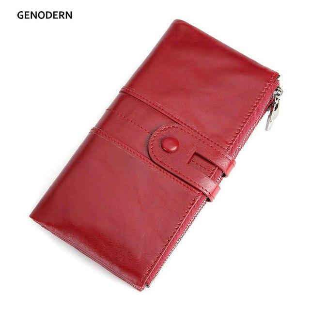 Genodern rfid 本革女性財布レディークラッチ財布長財布ジッパー財布女性の掛け金マネー電話バッグ