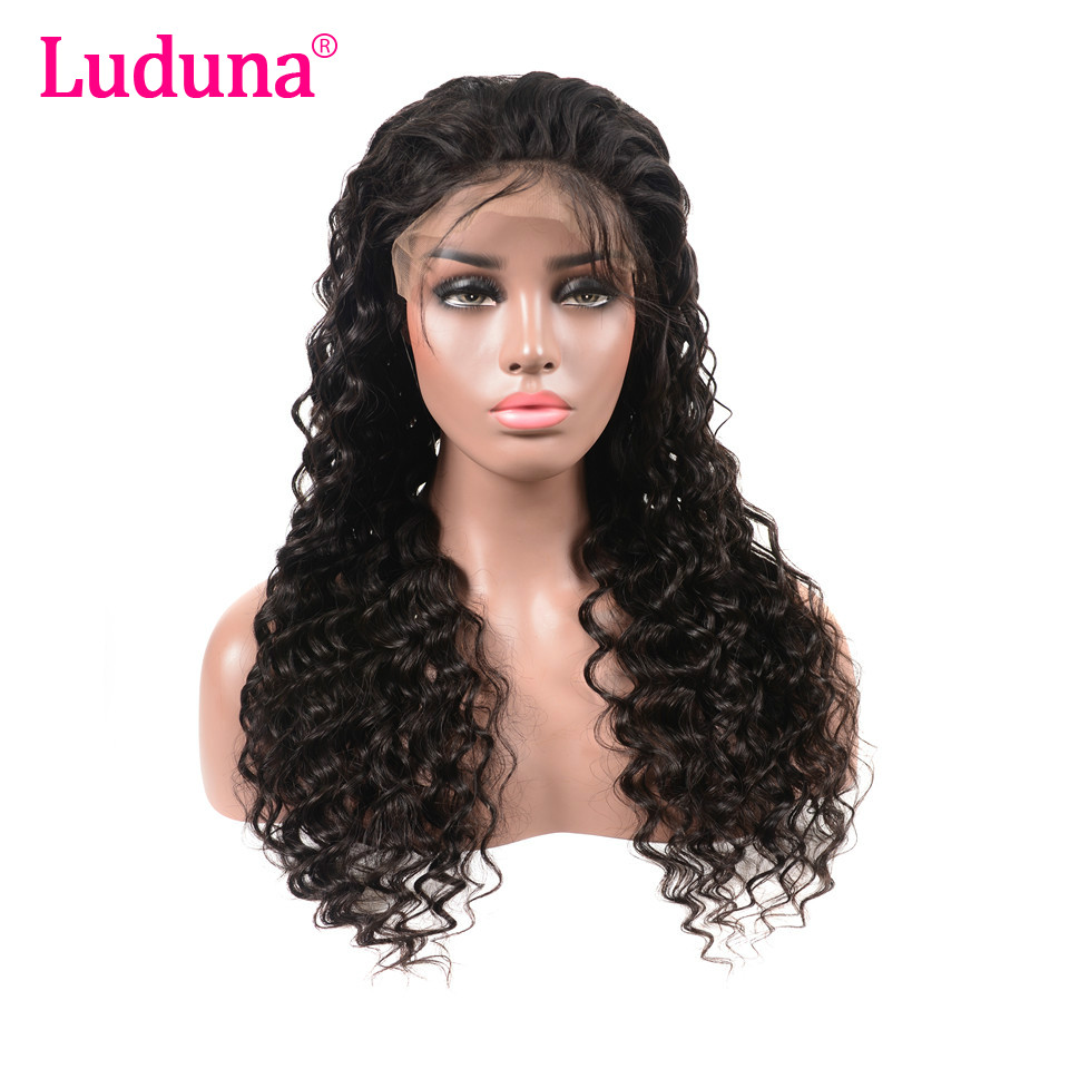 Lace Wigs Luduna 360 Lace Frontal Wigs With Baby Hair 150% Density Brazilian Deep Curly Lace Front Wig Pre Plucked Remy Human Hair Wigs Price Remains Stable