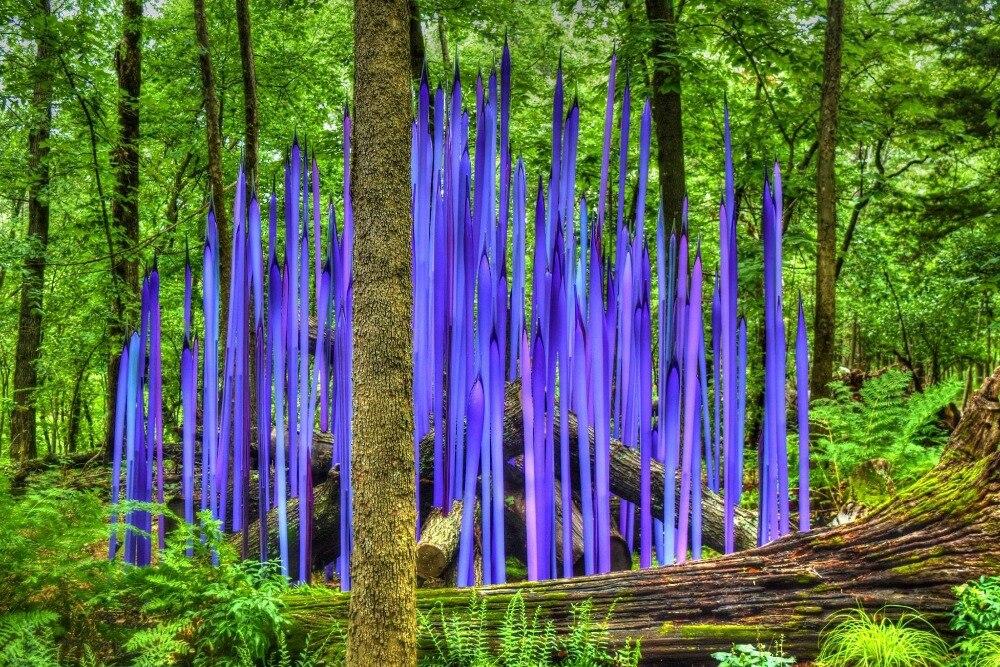 Custom Made Home Garden Woods Decor Glass Reeds Blown Murano Glass Sculpture Chihuly Art Sculpture dale chihuly style art murano glass lamp multicolor handmade blown glass chandelier light fixture
