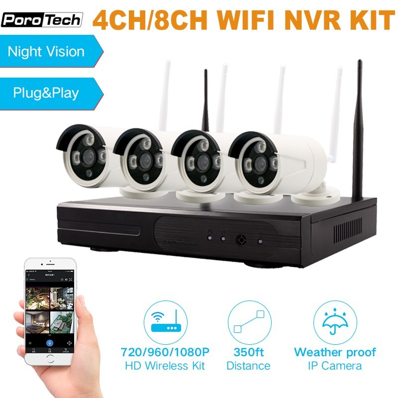 Wireless 4CH 8CH NVR Kit Night vision Camera System 960P/1080P Wifi Video 4 Channel CCTV System Camera NVR Kits Motion Detection
