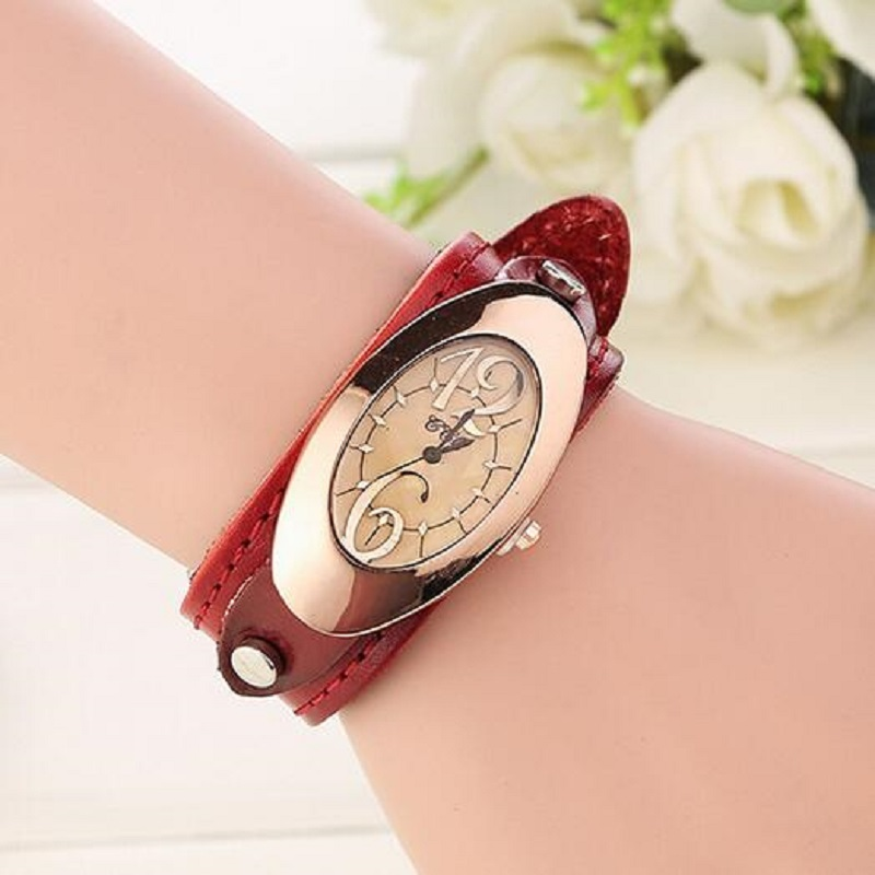 Fashion Vintage Quartz Watches Women Bracelet Watch Leather Casual Dress Wristwatches For Ladies Analog Clock Relojes Mujer 2016 fashion vintage big number magic leather strap quartz analog wristwatches watch for women ladies girls black brown blue