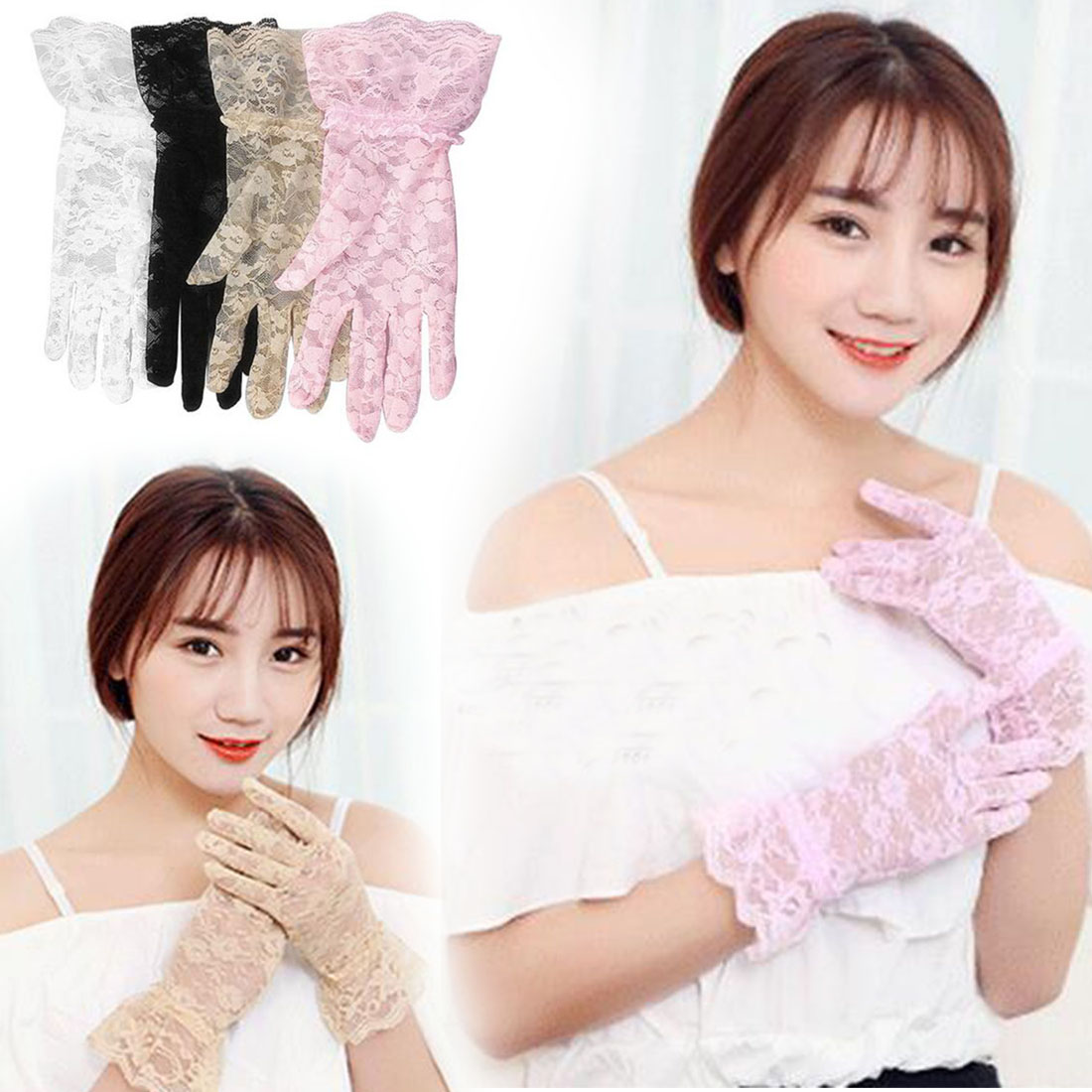 Vintage Elastic Sun Protection Solid 2018 Sunscreen Summer Gorgeous Pink Finger Gloves Sexy Lace Black Large Sunscreen Gloves