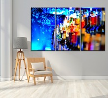 The Bar Wall Decor 3 Piece Colorful Drink Turquoise Whisky Painting Modern Modular Combinatorial Art Picture Framework