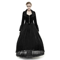 Мода Готическая Черное кружево длинное платье хвост пальто женщина стимпанк отложной воротник вечерние жаккардовые Формальные ласточкин