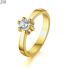 Wholesale 2 color for Women wedding stone Ring Zircon Gold color Ring silver Engagement Rings Bridal Fashion Jewelry LR096(China)