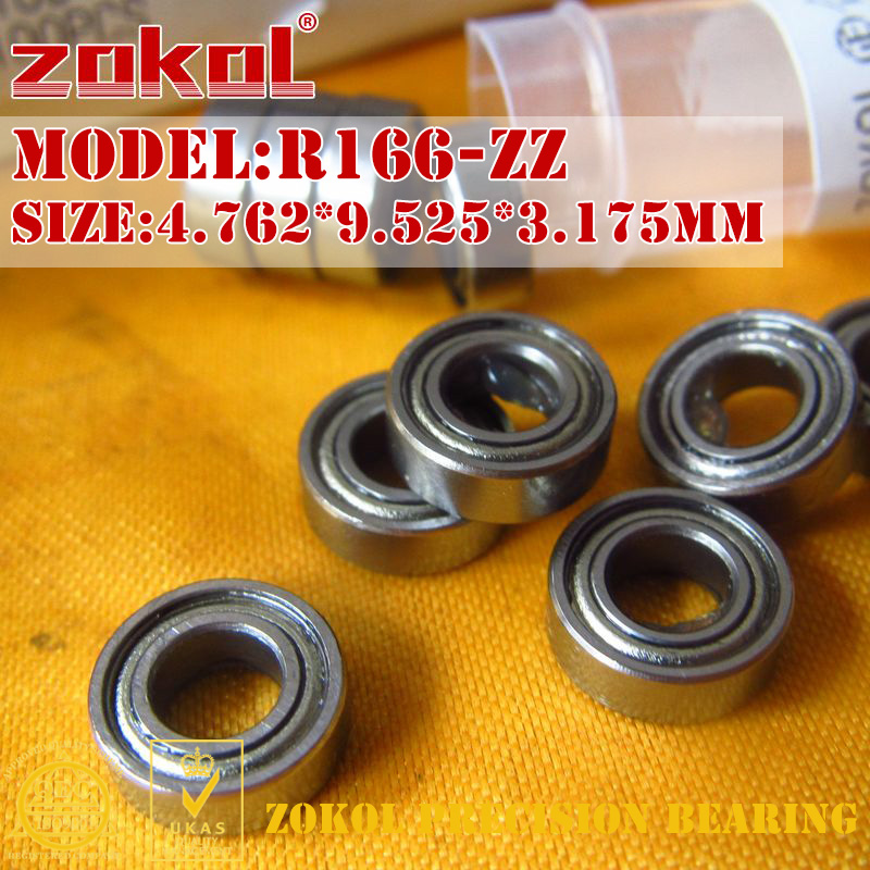 ZOKOL R166 ZZ Bearing R166ZZ R166 Zz Miniature R166-ZZ Deep Groove Ball Bearing 4.762*9.525*3.175mm
