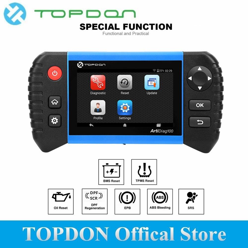 TOPDON ArtiDiag100 инструмент диагностики авто OBD 2 OBDII сканер все системы Professional двигатели для автомобиля анализатор код читателя как CRP Touch Pro