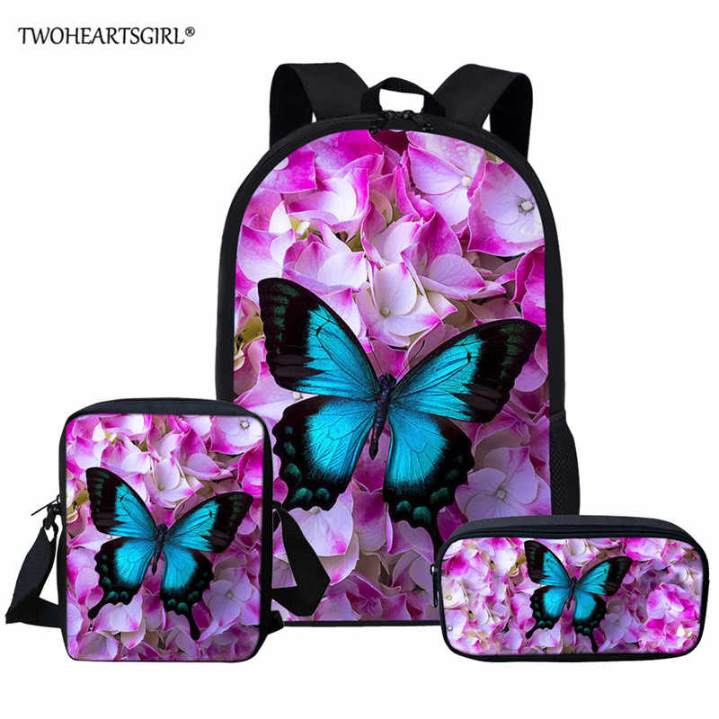 Twoheartsgirl Butterfly School Bag Sets Schoolbag for Teenager Girls Cute Children Kids School Bookbags Mochila Escolar