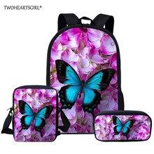 Twoheartsgirl Butterfly School Bag Sets Schoolbag for Teenager Girls Cute Children Kids Bookbags Mochila Escolar