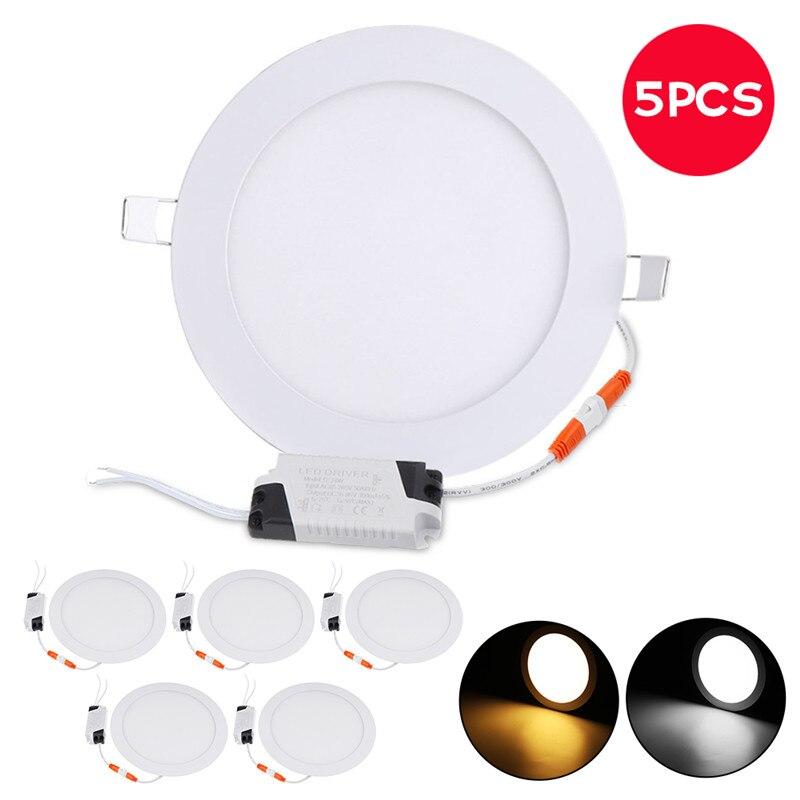 5 pièces Ultra mince LED vers le bas lampe 21 W LED éclairage encastré grille downlight mince panneau rond lumière blanc chaud livraison gratuite