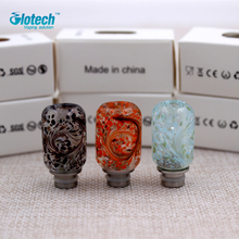 Glotech Colorful glass +Stainless Steel 510 thread drip tip mouthpiece for  RDA RBA Atomizer DIY vaporizer